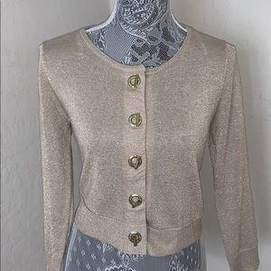 CALVIN KLEIN GOLD SHRUG CARDIGAN WITH TOGGLES